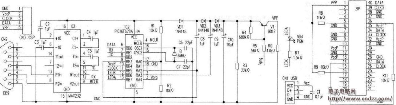 dty自制pic单片机编程器电路pcb