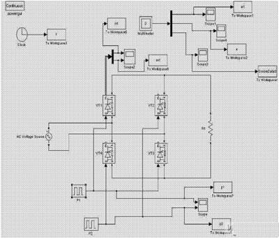 根据单相桥式全控整流电路原理图,在simulink的power system工具箱里
